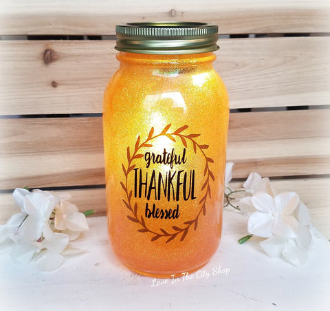 Grateful, Thankful, Blessed Light Up Jar - love-in-the-city-shop