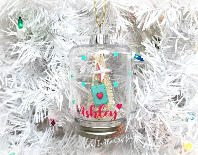 Travel Snow Globe Ornament - love-in-the-city-shop