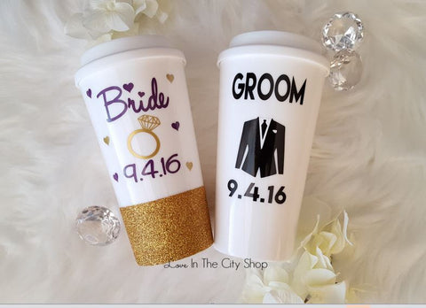Bride and Groom Travel Mugs - love-in-the-city-shop