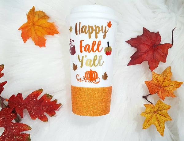 Happy Fall Y'all Travel Mug - love-in-the-city-shop