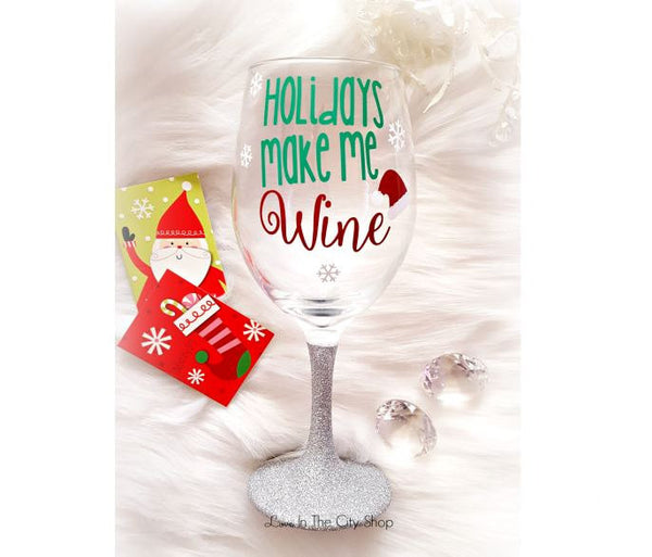 Holiday Wine Glass - love-in-the-city-shop