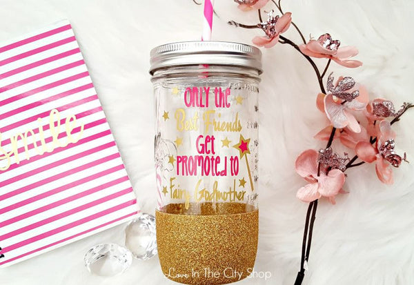 Only The Best Friends Get Promoted To Fairy Godmother Tumbler (Glass Tumbler) - love-in-the-city-shop