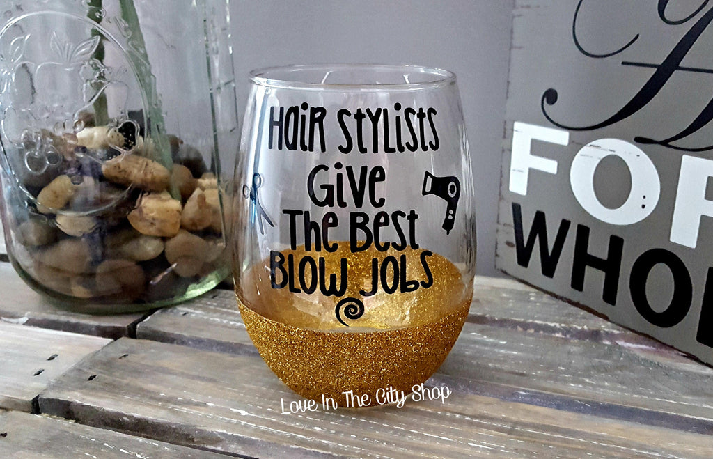 Hair Stylist Stemless Wine Glass - love-in-the-city-shop