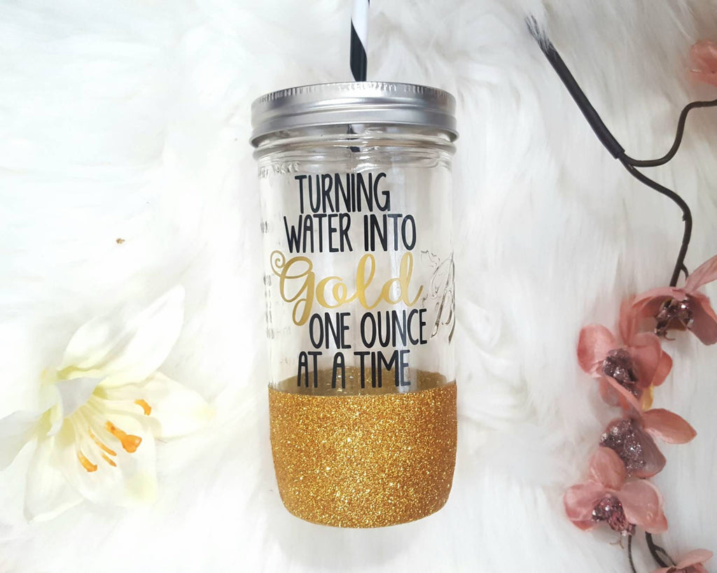 Turning water into gold one ounce at a time Tumbler (Glass Tumbler) - love-in-the-city-shop