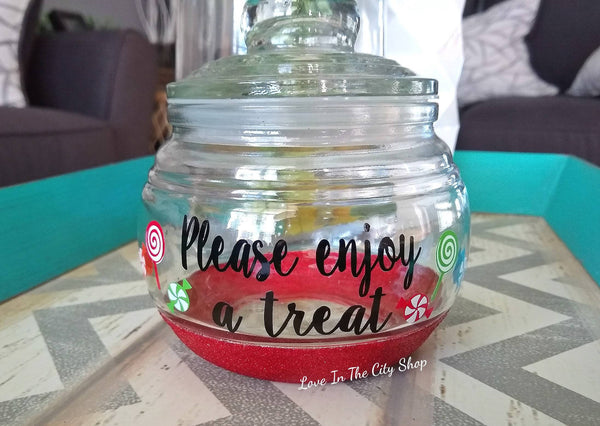 Please Enjoy a Treat Candy Jar - love-in-the-city-shop