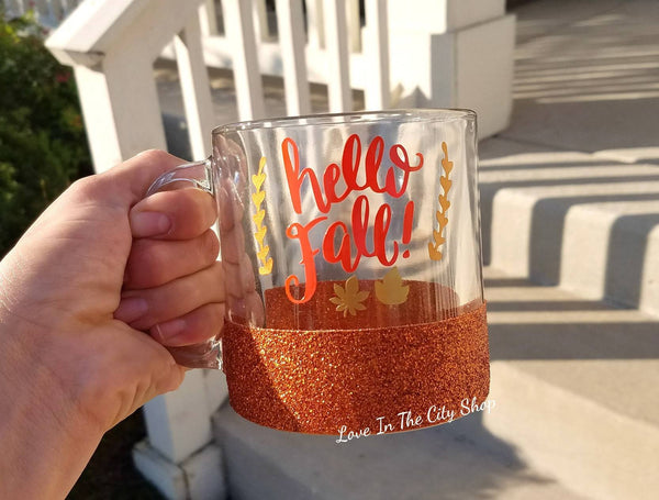 Hello Fall Glass Coffee Mug - love-in-the-city-shop