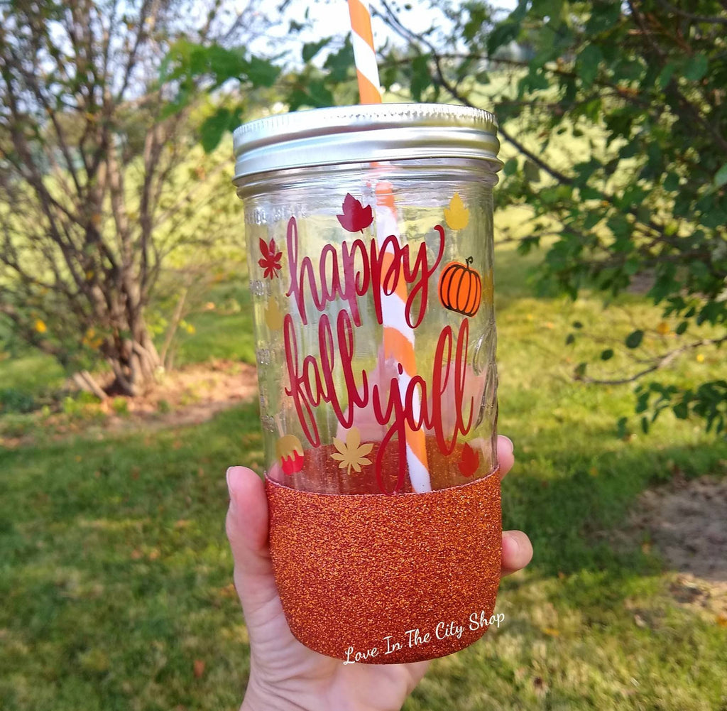Happy Fall Tumbler (Glass Tumbler) - love-in-the-city-shop