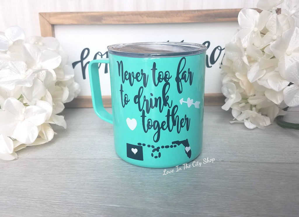 Never too far to drink together Metal Mug - love-in-the-city-shop