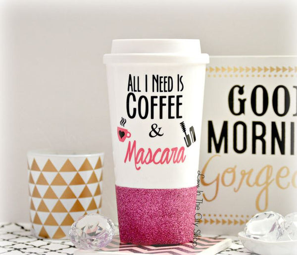 Coffee and Mascara Travel Mug - love-in-the-city-shop