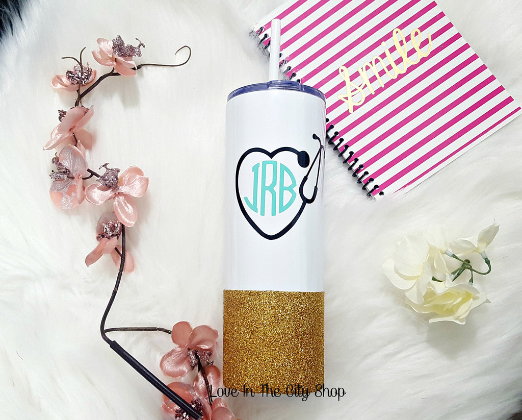 Monogram Nurse Vacuum Mug (with straw) - love-in-the-city-shop