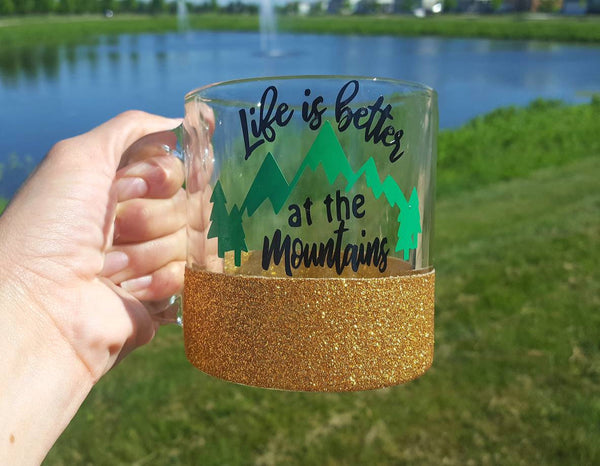 Life is Better at the Mountains Glass Coffee Mug - love-in-the-city-shop