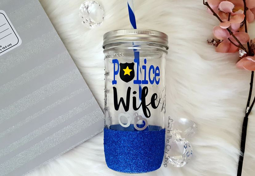 Police Wife Tumbler (Glass Tumbler) - love-in-the-city-shop