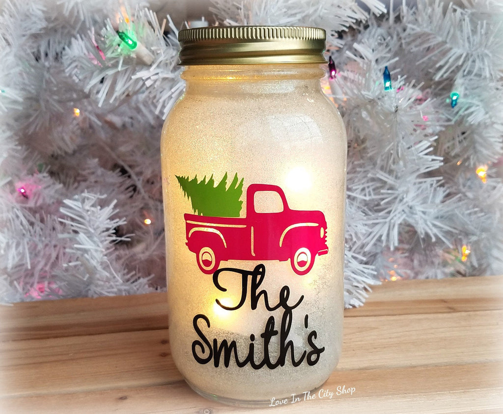 Red Christmas Truck Light Up Jar - love-in-the-city-shop