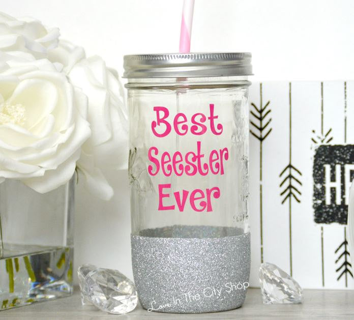 Best Sister / Seester Tumbler (Glass) - love-in-the-city-shop