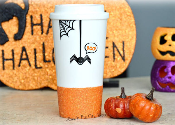Halloween Spider Travel Mug / Scary Spider Mug - love-in-the-city-shop