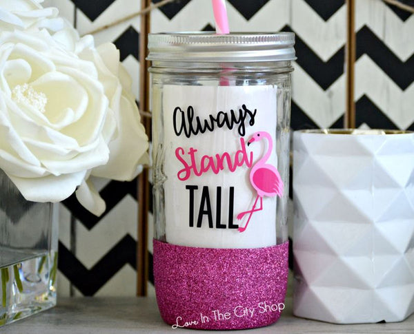 Stand Tall Flamingo Tumbler (Glass) - love-in-the-city-shop