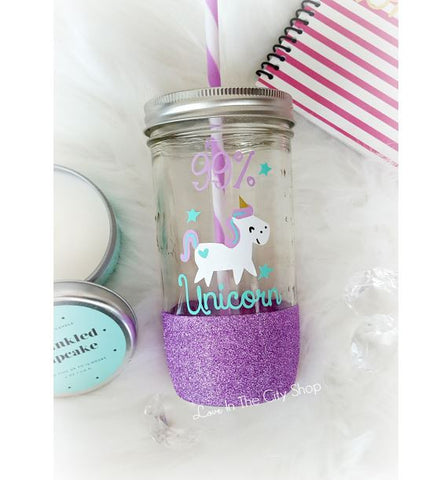 99% Unicorn Glass Tumbler - love-in-the-city-shop
