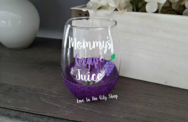 Mommy's Grape Juice Stemless Wine Glass - love-in-the-city-shop