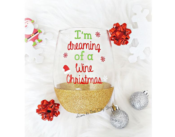 Christmas Wine Glass - love-in-the-city-shop