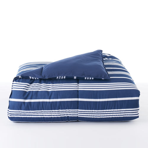 The Big One Down Alternative Reversible Comforter Navy Stripe in King Size