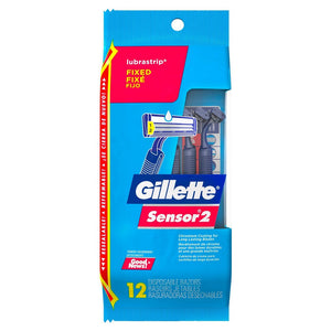 Gillette Sensor 2 Disposable Razor Fixed Lubrastrip 12 ct.