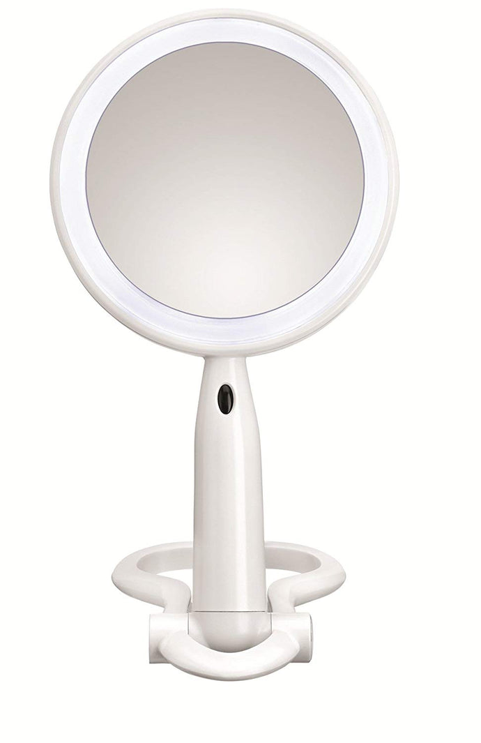 Conair Plastic Double-Sided Lighted Makeup Mirror Lighted Vanity with LED Lights White