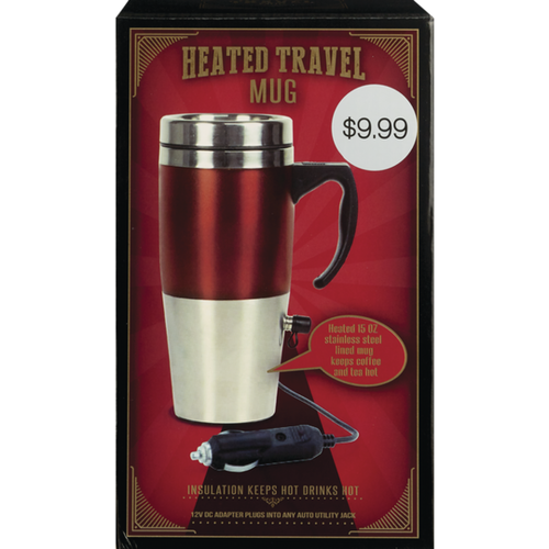 Heated 15 oz. Travel Mug with 12V DC Auto Adapter