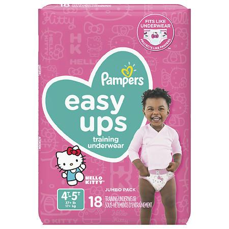 Pampers Easy Ups Training Underwear Girls 4T-5T Jumbo Pack 18 ct.