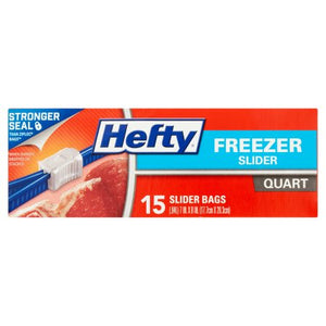 Hefty Slider Bags Freezer Quart 15-17 ct.