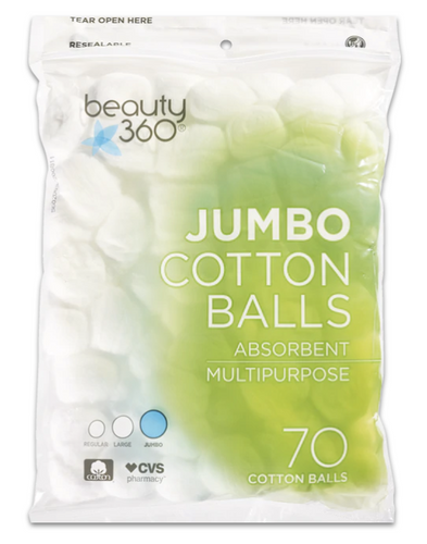 Beauty 360 Jumbo Absorbent Cotton Balls 70 ct.