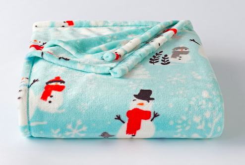 The Big One Supersoft Plush Throw Blue with Snowman
