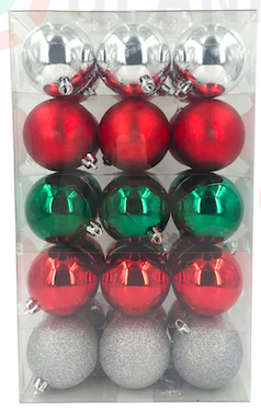 St. Nicholas Square Shatterproof Ornament Set Red/Green/Silver Assorted 30 ct.