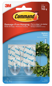 Command Clear Hooks Medium Designer Hooks 2 ct. with 4 Strips