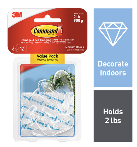 Command Clear Medium Hooks 6 ct. with 12 Strips