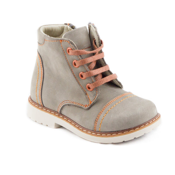 PEPPY ASHTON grey and orange lace up boots
