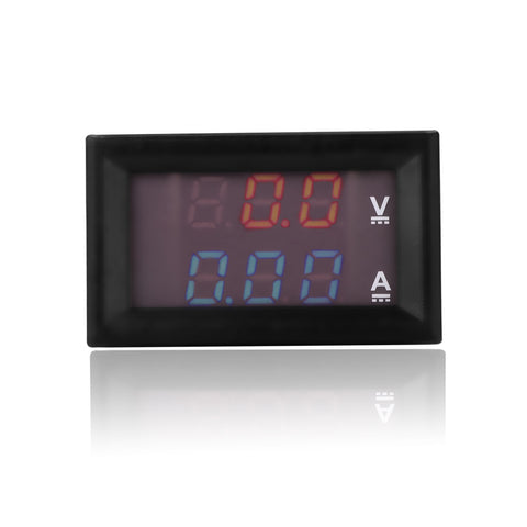 DC 0-100V 10A Digital Voltmeter Ammeter Detector Red+Blue Dual LED Display Voltage Current Meter Panel Amp Volt Gauge 0.28""