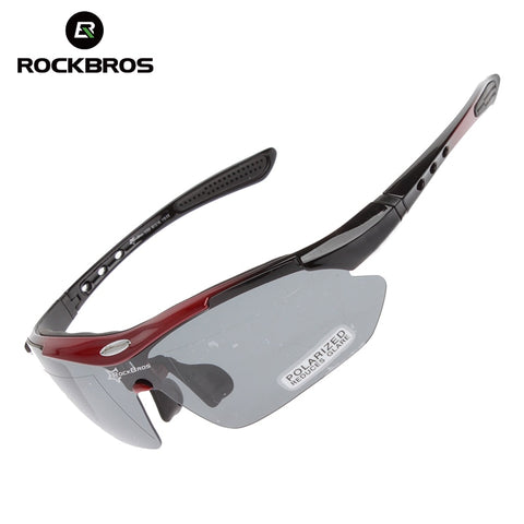 RockBros Cycling Bike Bicycle Polarized Glasses Bike Goggles Outdoor Sports Bike Bicycle Sunglasses Eyewear UV 400 5 Lens TR90