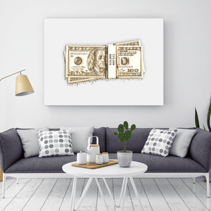 Gold Dipped Benjamin Stacks Canvas Print