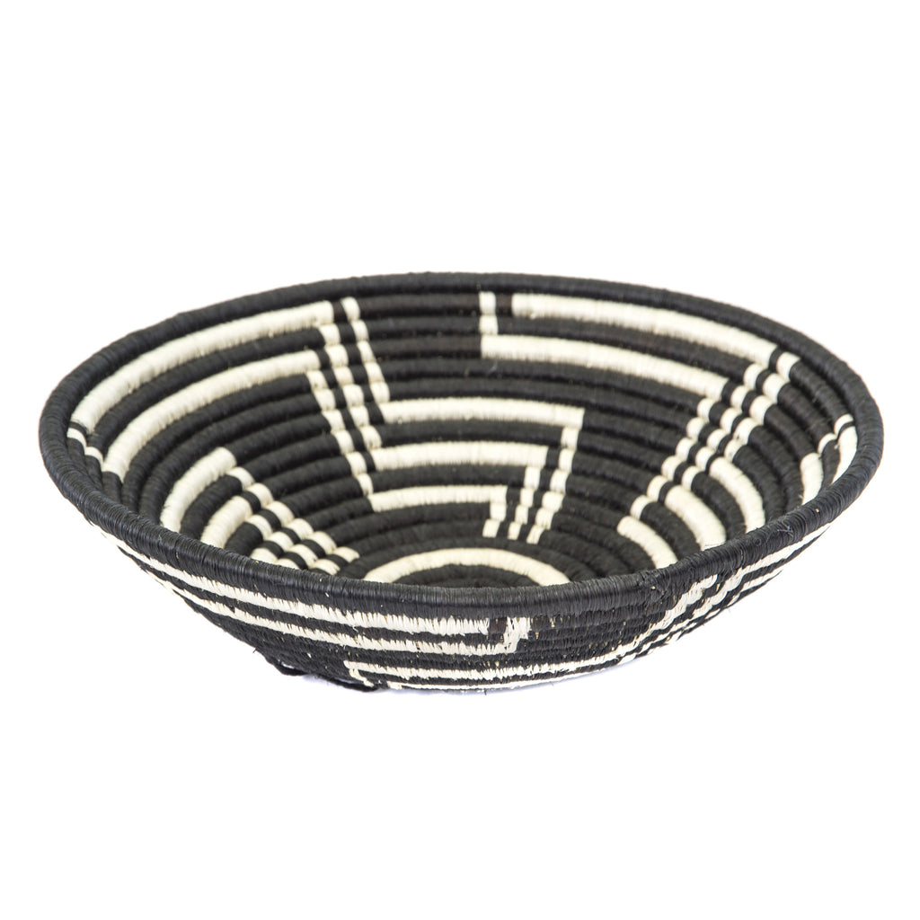 Basket black & white geometric plateau