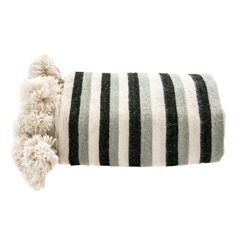 Blanket Black & Grey Stripe Stripe Pom Pom