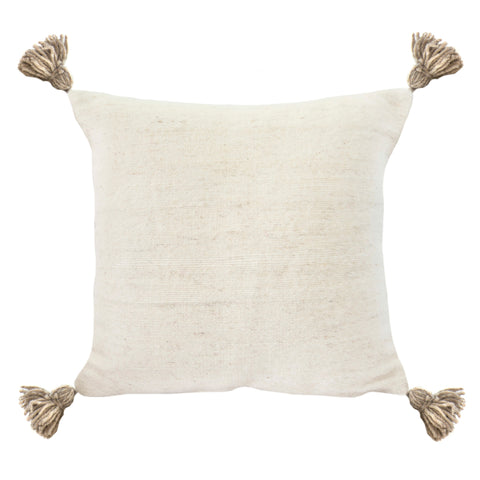 Cushion Square Natural Weave Taupe pom pom