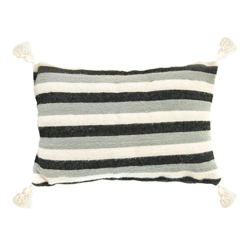 Cushion Rectangle Black & Grey stripe pom pom