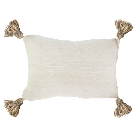 Cushion Rectangle Natural Weave pom pom