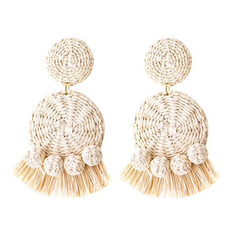 POLKACO Natural Tassel Drop Earrings
