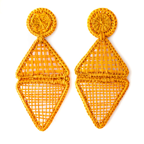 POLKACO Mustard Geo Drop Earrings