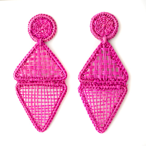 POLKA.CO Pink Geo Drop Earrings