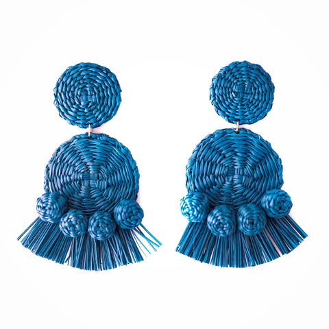 POLKACO Classic Blue Tassel Drop Earrings
