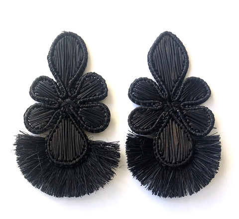 NEW POLKA.CO Black Manojo Flower Drops