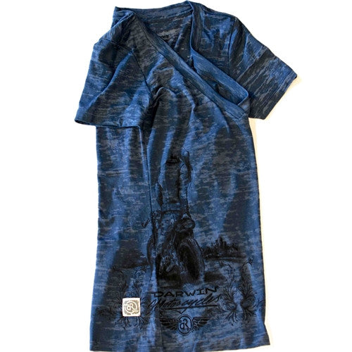 women's slate blue burnout tshirt brass balls cycles