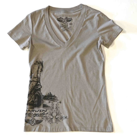 women's cotton vneck gray tshirt brass balls cycles